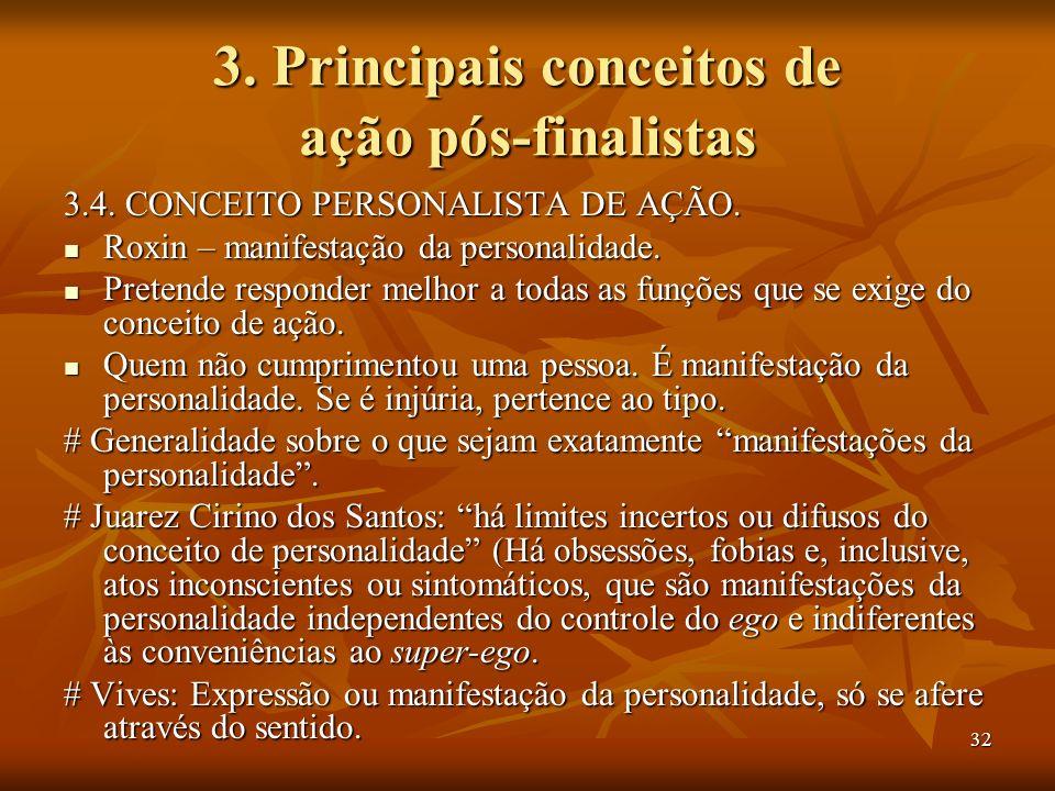 32 3. Principais conceitos de ação pós-finalistas 3.4. CONCEITO PERSONALISTA DE AÇÃO. Roxin – manifestação da personalidade. Roxin – manifestação da p