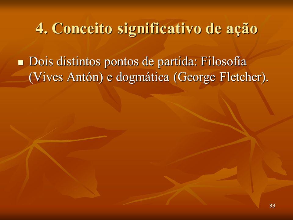 33 4. Conceito significativo de ação Dois distintos pontos de partida: Filosofia (Vives Antón) e dogmática (George Fletcher). Dois distintos pontos de