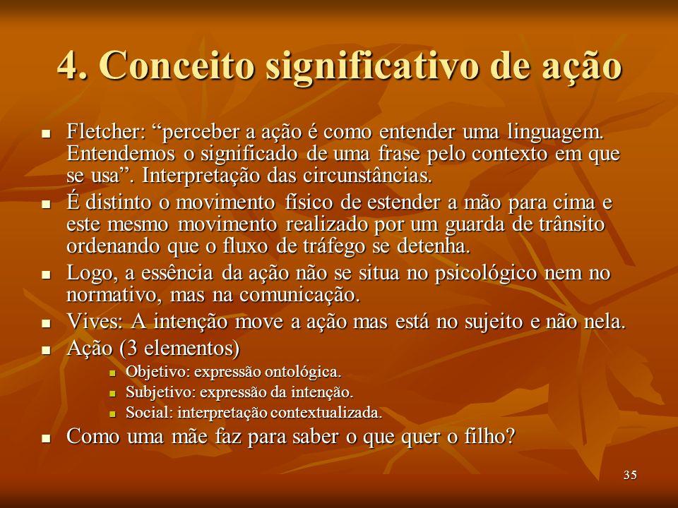 35 4. Conceito significativo de ação Fletcher: perceber a ação é como entender uma linguagem. Entendemos o significado de uma frase pelo contexto em q