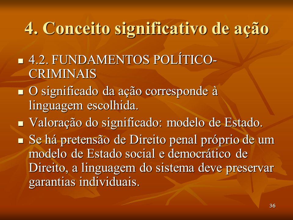 36 4. Conceito significativo de ação 4.2. FUNDAMENTOS POLÍTICO- CRIMINAIS 4.2. FUNDAMENTOS POLÍTICO- CRIMINAIS O significado da ação corresponde à lin