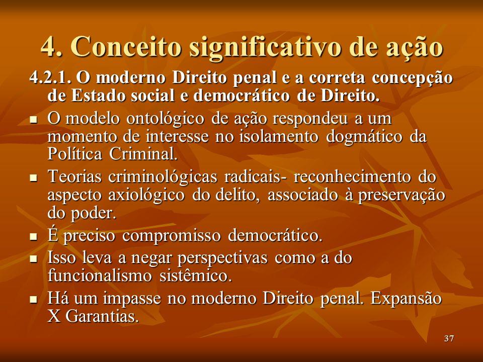 37 4. Conceito significativo de ação 4.2.1. O moderno Direito penal e a correta concepção de Estado social e democrático de Direito. O modelo ontológi