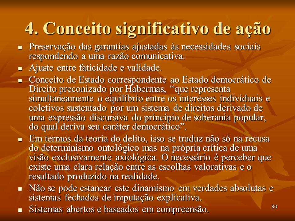 39 4. Conceito significativo de ação Preservação das garantias ajustadas às necessidades sociais respondendo a uma razão comunicativa. Preservação das