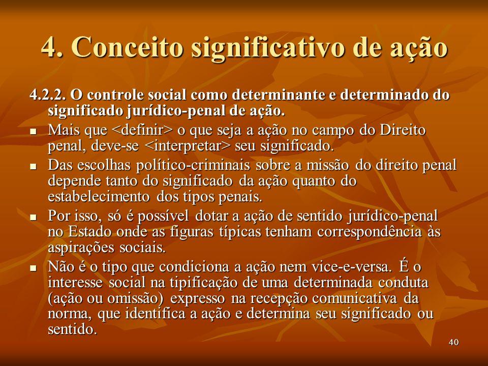 40 4. Conceito significativo de ação 4.2.2. O controle social como determinante e determinado do significado jurídico-penal de ação. Mais que o que se