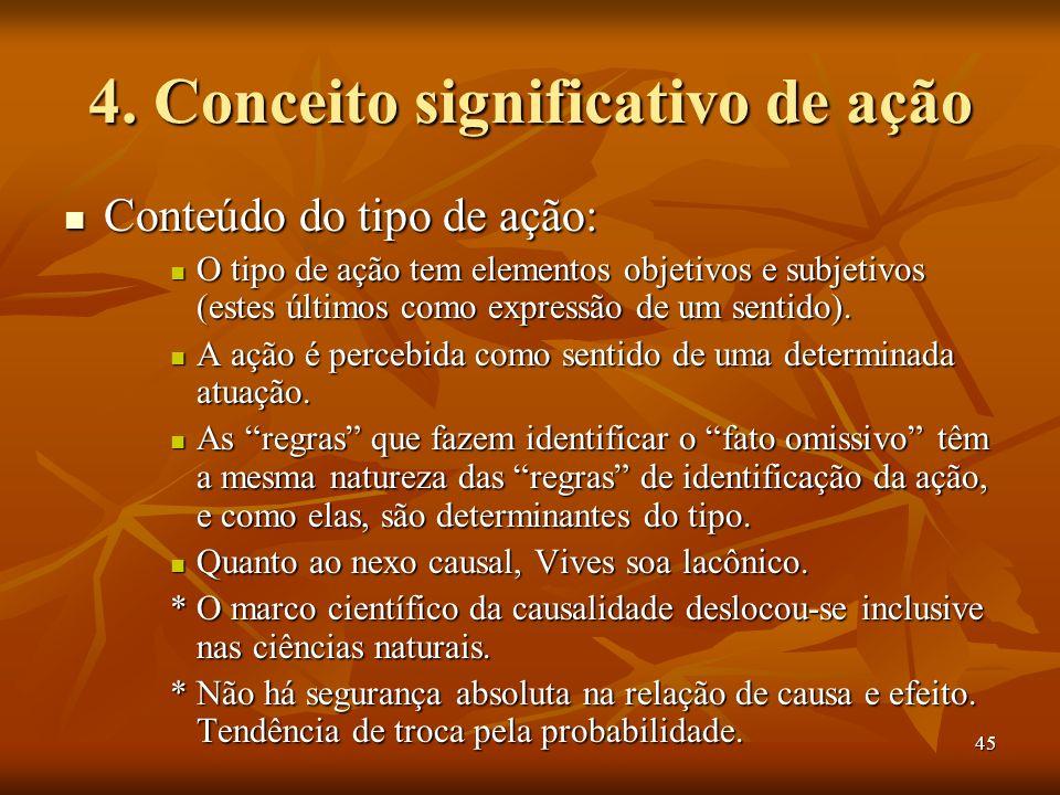 45 4. Conceito significativo de ação Conteúdo do tipo de ação: Conteúdo do tipo de ação: O tipo de ação tem elementos objetivos e subjetivos (estes úl
