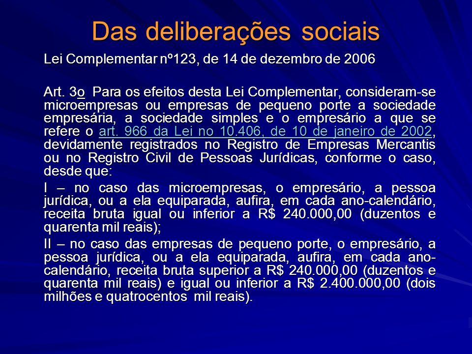 Das deliberações sociais Lei Complementar nº123, de 14 de dezembro de 2006 Art. 3o Para os efeitos desta Lei Complementar, consideram-se microempresas