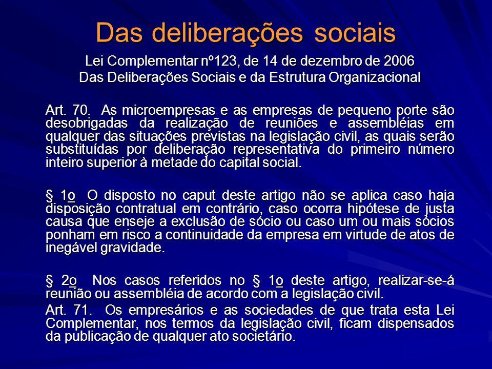 Das deliberações sociais Lei Complementar nº123, de 14 de dezembro de 2006 Das Deliberações Sociais e da Estrutura Organizacional Art. 70. As microemp
