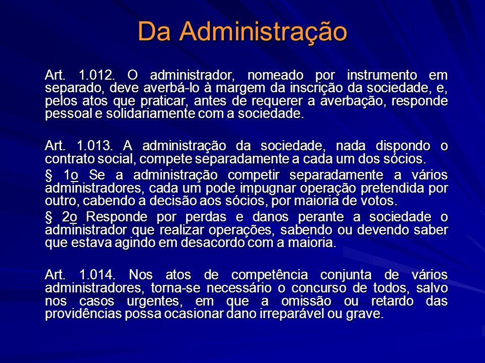 Da Administração Art. 1.012. O administrador, nomeado por instrumento em separado, deve averbá-lo à margem da inscrição da sociedade, e, pelos atos qu