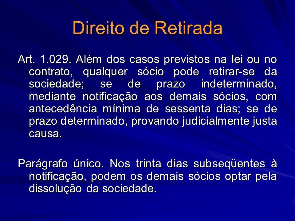 Direito de Retirada Art. 1.029. Além dos casos previstos na lei ou no contrato, qualquer sócio pode retirar-se da sociedade; se de prazo indeterminado