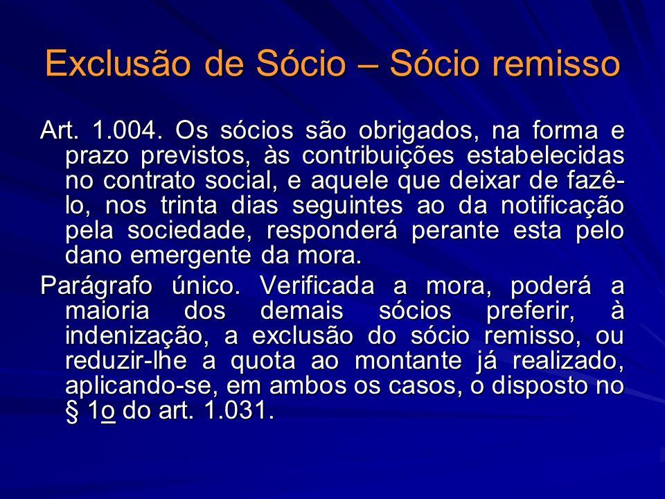 Exclusão de Sócio – Sócio remisso Art. 1.004. Os sócios são obrigados, na forma e prazo previstos, às contribuições estabelecidas no contrato social,