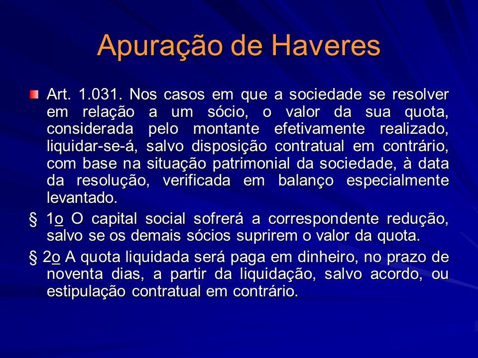 Apuração de Haveres Art. 1.031. Nos casos em que a sociedade se resolver em relação a um sócio, o valor da sua quota, considerada pelo montante efetiv