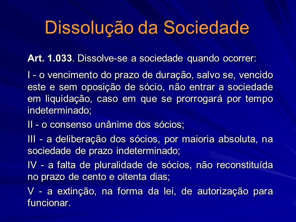 Dissolução da Sociedade Art. 1.033. Dissolve-se a sociedade quando ocorrer: I - o vencimento do prazo de duração, salvo se, vencido este e sem oposiçã