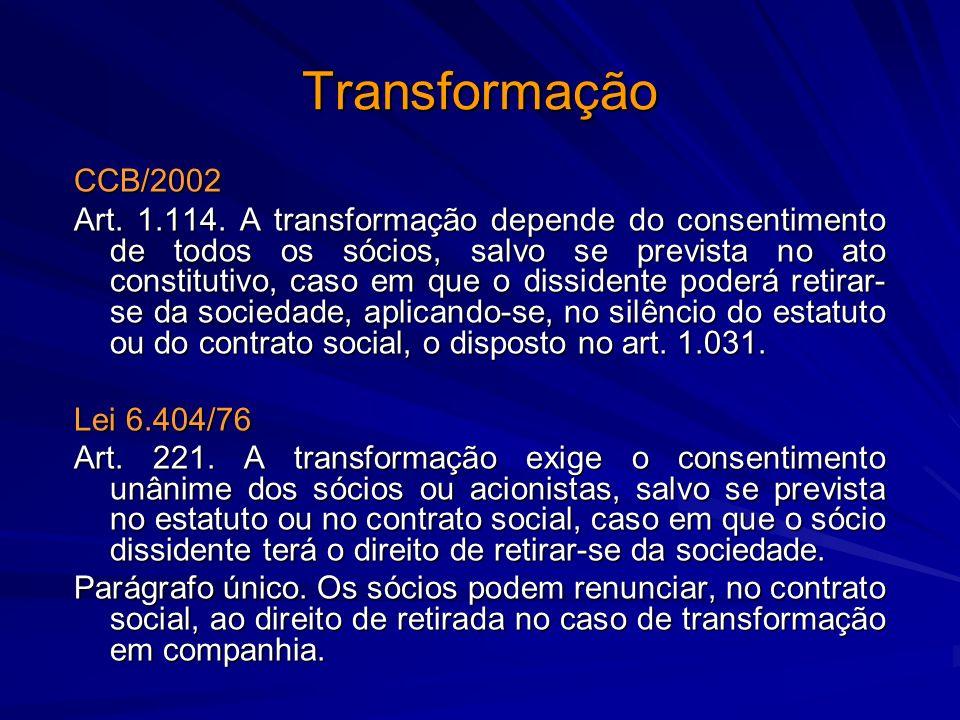 Transformação CCB/2002 Art. 1.114. A transformação depende do consentimento de todos os sócios, salvo se prevista no ato constitutivo, caso em que o d