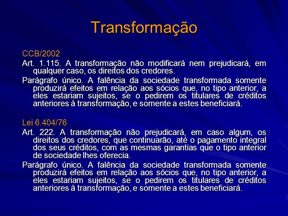 Transformação CCB/2002 Art. 1.115. A transformação não modificará nem prejudicará, em qualquer caso, os direitos dos credores. Parágrafo único. A falê