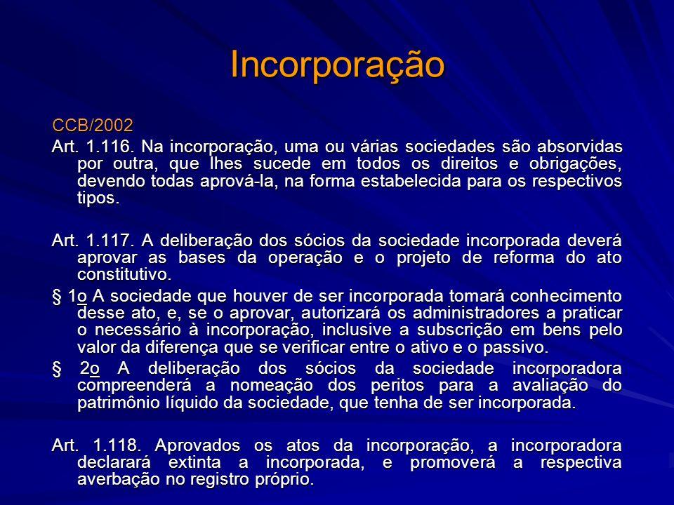 Incorporação CCB/2002 Art. 1.116. Na incorporação, uma ou várias sociedades são absorvidas por outra, que lhes sucede em todos os direitos e obrigaçõe