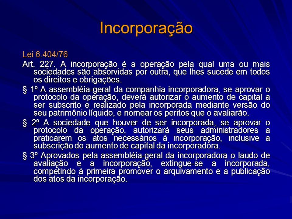 Incorporação Lei 6.404/76 Art. 227. A incorporação é a operação pela qual uma ou mais sociedades são absorvidas por outra, que lhes sucede em todos os