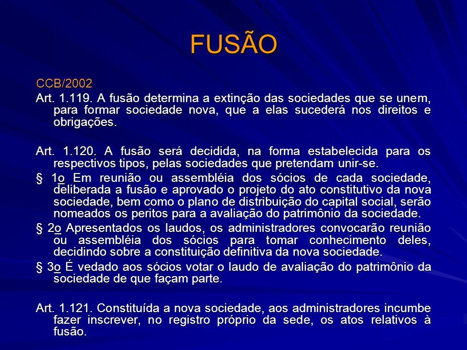 FUSÃO CCB/2002 Art. 1.119. A fusão determina a extinção das sociedades que se unem, para formar sociedade nova, que a elas sucederá nos direitos e obr