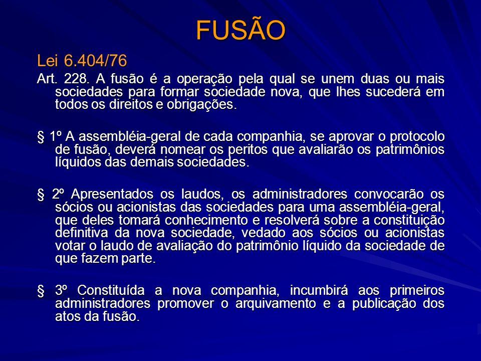 FUSÃO Lei 6.404/76 Art. 228. A fusão é a operação pela qual se unem duas ou mais sociedades para formar sociedade nova, que lhes sucederá em todos os