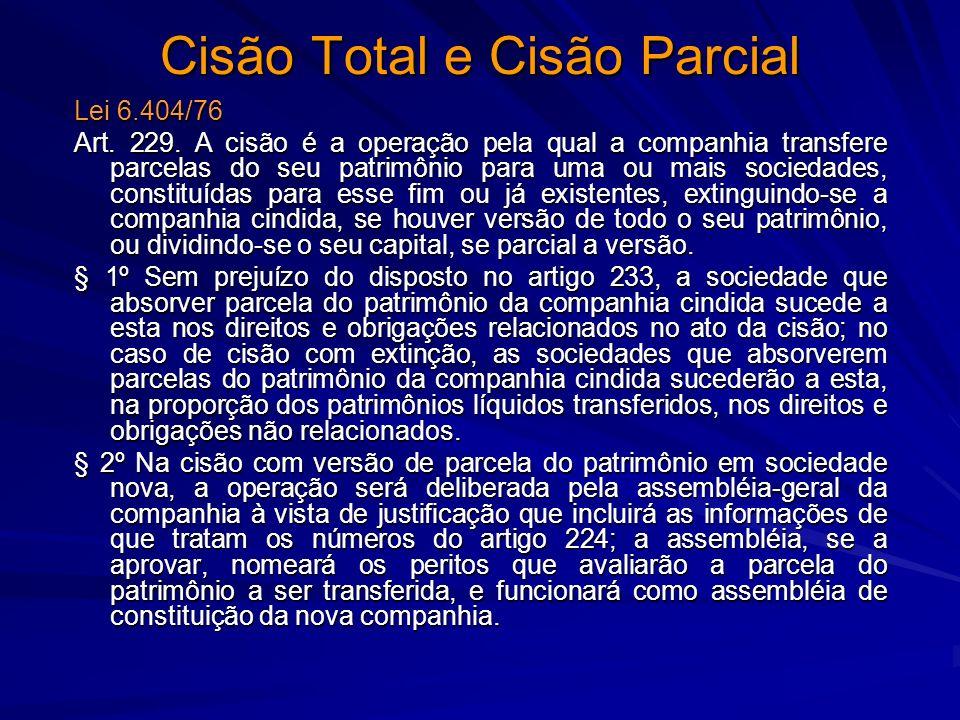 Cisão Total e Cisão Parcial Lei 6.404/76 Art. 229. A cisão é a operação pela qual a companhia transfere parcelas do seu patrimônio para uma ou mais so