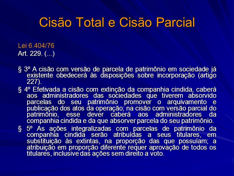 Cisão Total e Cisão Parcial Lei 6.404/76 Art. 229. (...) § 3º A cisão com versão de parcela de patrimônio em sociedade já existente obedecerá às dispo