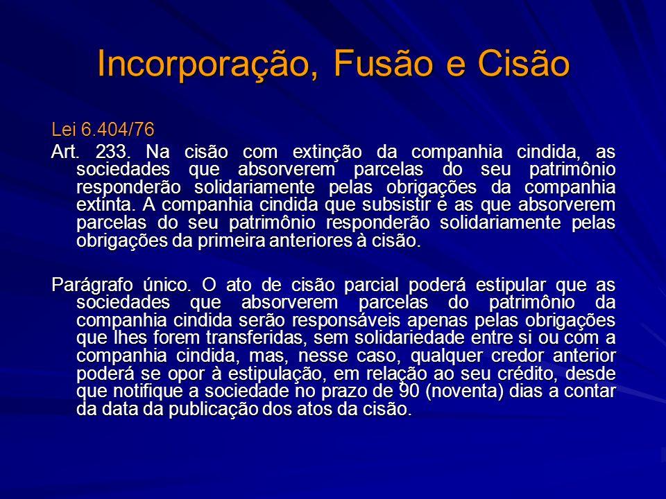 Incorporação, Fusão e Cisão Lei 6.404/76 Art. 233. Na cisão com extinção da companhia cindida, as sociedades que absorverem parcelas do seu patrimônio