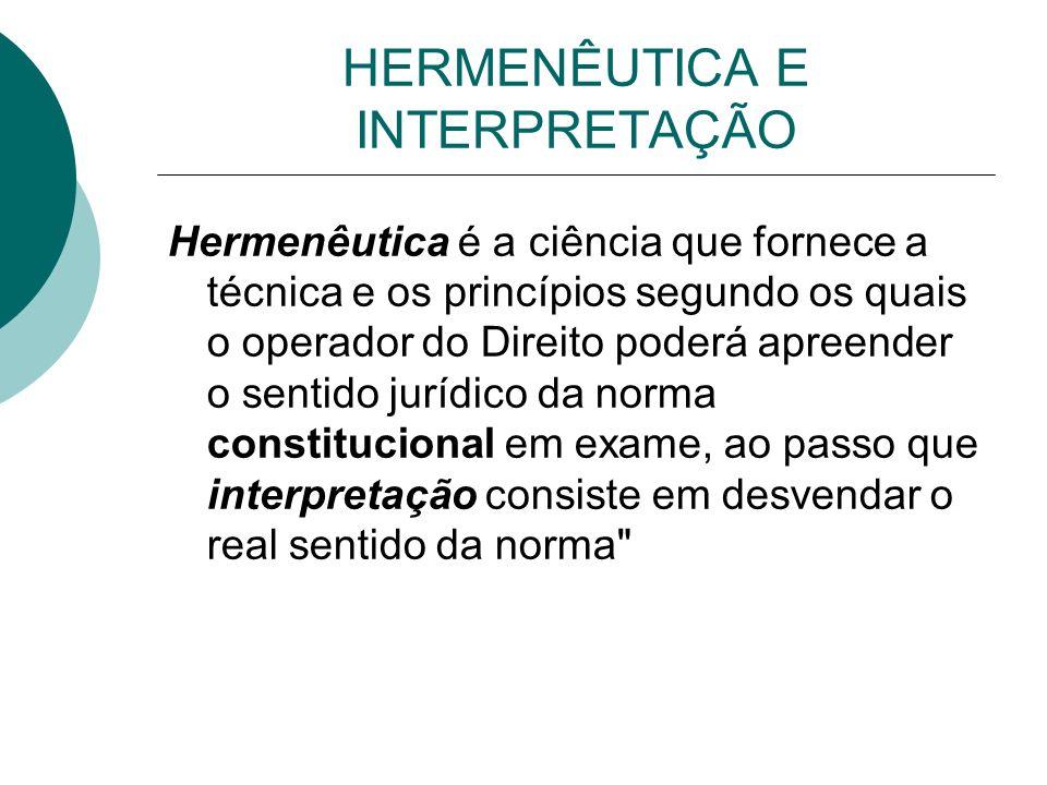 HERMENÊUTICA E INTERPRETAÇÃO Hermenêutica é a ciência que fornece a técnica e os princípios segundo os quais o operador do Direito poderá apreender o