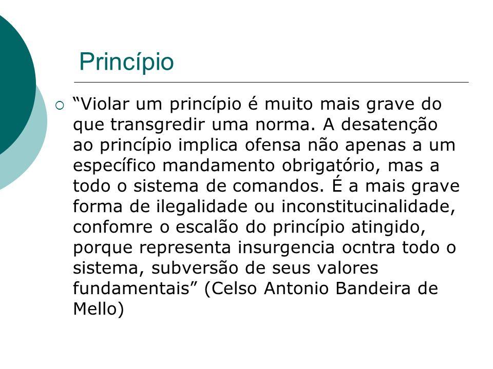 Princípio Violar um princípio é muito mais grave do que transgredir uma norma. A desatenção ao princípio implica ofensa não apenas a um específico man