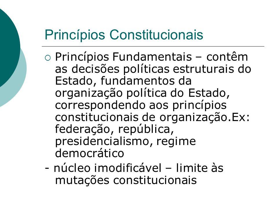 Princípios Constitucionais Princípios Fundamentais – contêm as decisões políticas estruturais do Estado, fundamentos da organização política do Estado