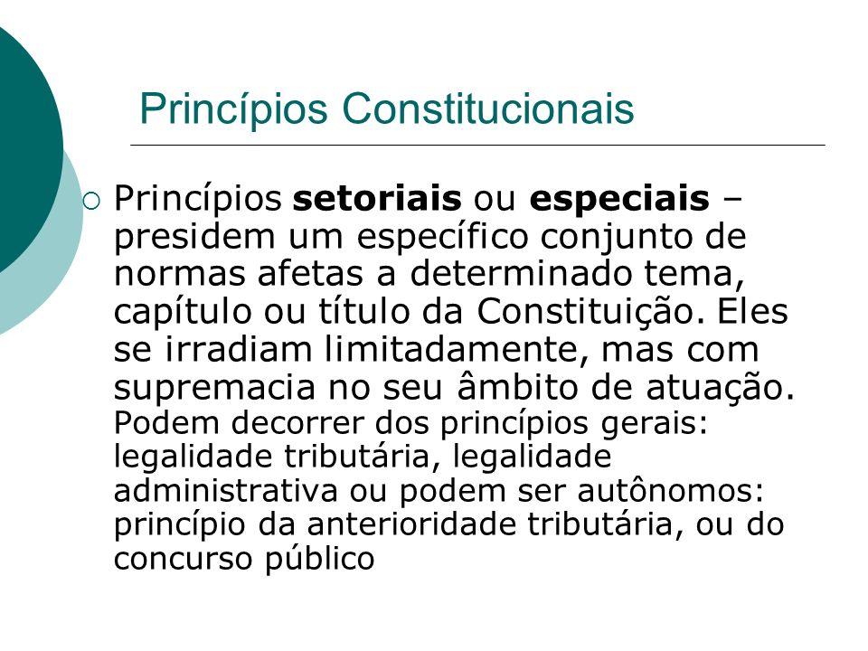 Princípios Constitucionais Princípios setoriais ou especiais – presidem um específico conjunto de normas afetas a determinado tema, capítulo ou título