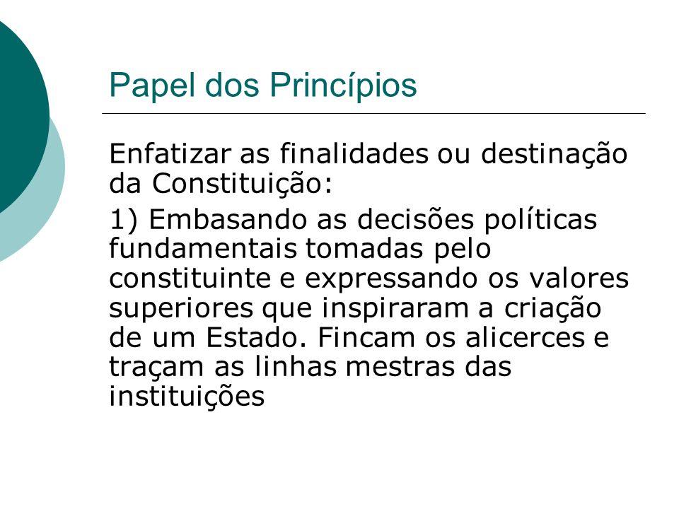 Papel dos Princípios Enfatizar as finalidades ou destinação da Constituição: 1) Embasando as decisões políticas fundamentais tomadas pelo constituinte