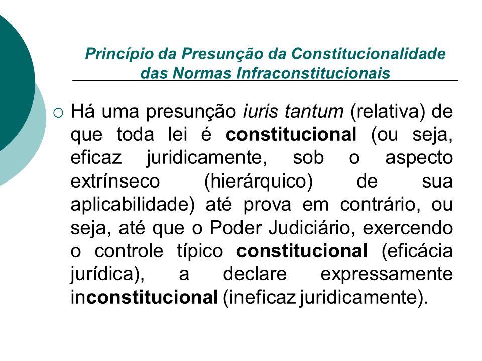 Princípio da Presunção da Constitucionalidade das Normas Infraconstitucionais Há uma presunção iuris tantum (relativa) de que toda lei é constituciona