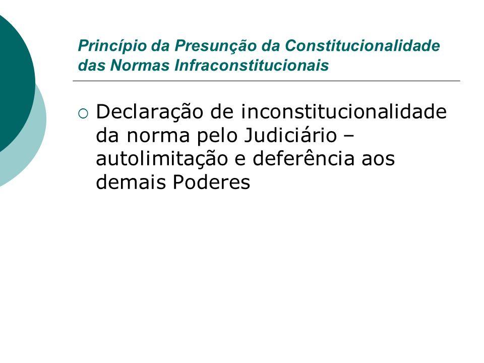 Princípio da Presunção da Constitucionalidade das Normas Infraconstitucionais Declaração de inconstitucionalidade da norma pelo Judiciário – autolimit