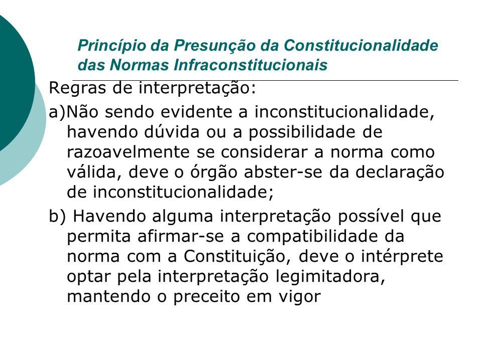 Princípio da Presunção da Constitucionalidade das Normas Infraconstitucionais Regras de interpretação: a)Não sendo evidente a inconstitucionalidade, h