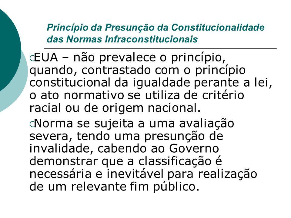 Princípio da Presunção da Constitucionalidade das Normas Infraconstitucionais EUA – não prevalece o princípio, quando, contrastado com o princípio con