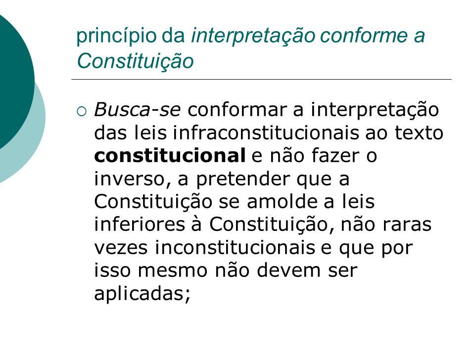 princípio da interpretação conforme a Constituição Busca-se conformar a interpretação das leis infraconstitucionais ao texto constitucional e não faze