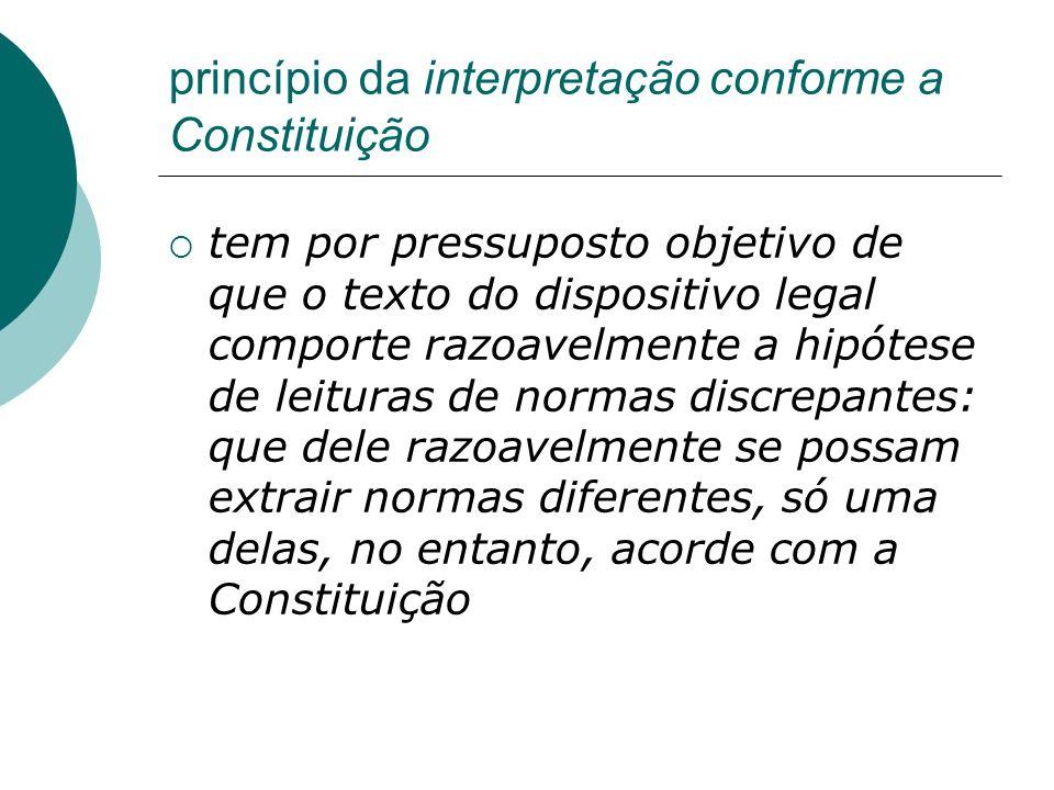 princípio da interpretação conforme a Constituição tem por pressuposto objetivo de que o texto do dispositivo legal comporte razoavelmente a hipótese