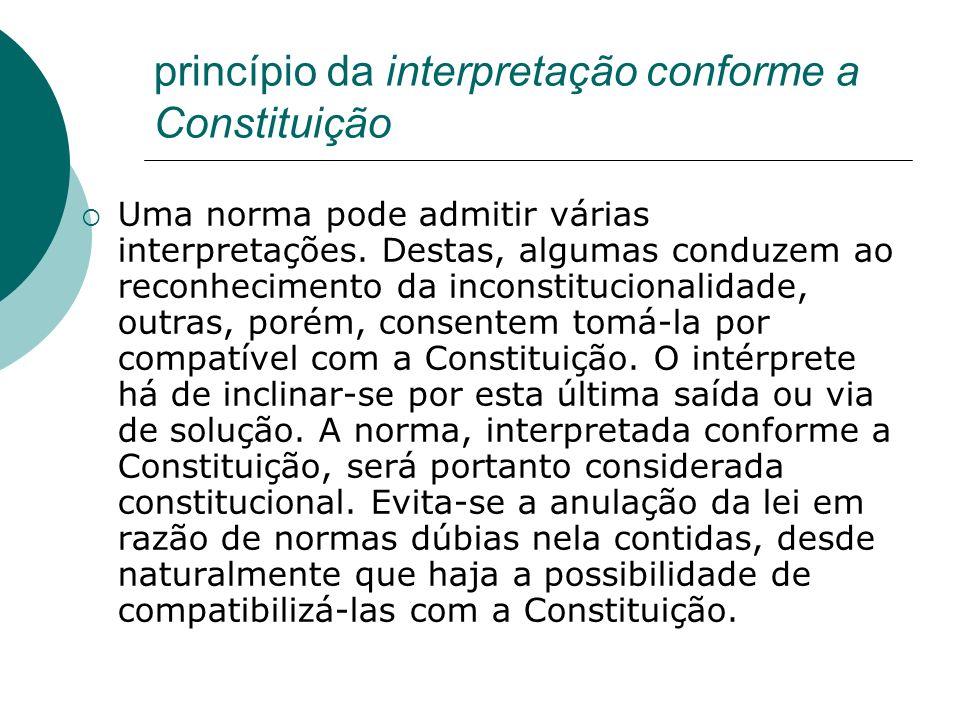 princípio da interpretação conforme a Constituição Uma norma pode admitir várias interpretações. Destas, algumas conduzem ao reconhecimento da inconst
