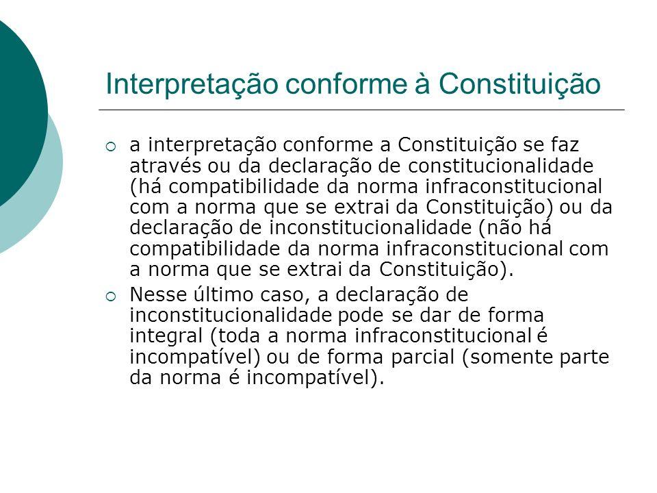 Interpretação conforme à Constituição a interpretação conforme a Constituição se faz através ou da declaração de constitucionalidade (há compatibilida