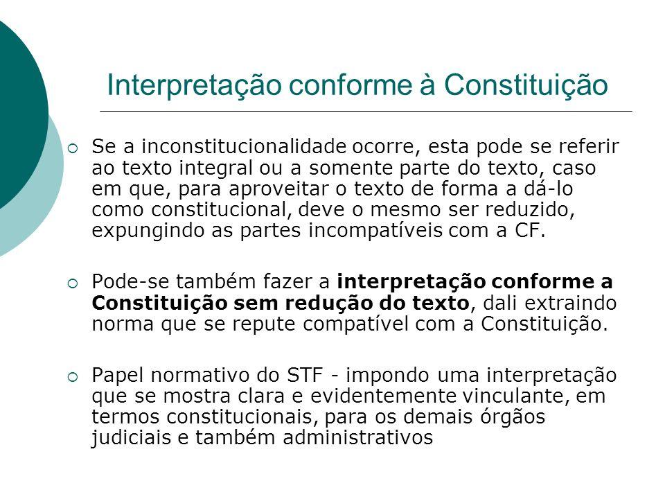 Interpretação conforme à Constituição Se a inconstitucionalidade ocorre, esta pode se referir ao texto integral ou a somente parte do texto, caso em q