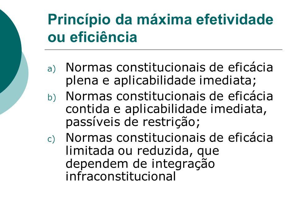 Princípio da máxima efetividade ou eficiência a) Normas constitucionais de eficácia plena e aplicabilidade imediata; b) Normas constitucionais de efic