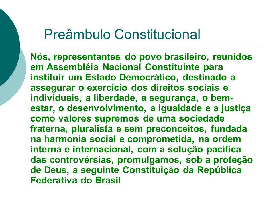 Preâmbulo Constitucional Nós, representantes do povo brasileiro, reunidos em Assembléia Nacional Constituinte para instituir um Estado Democrático, de