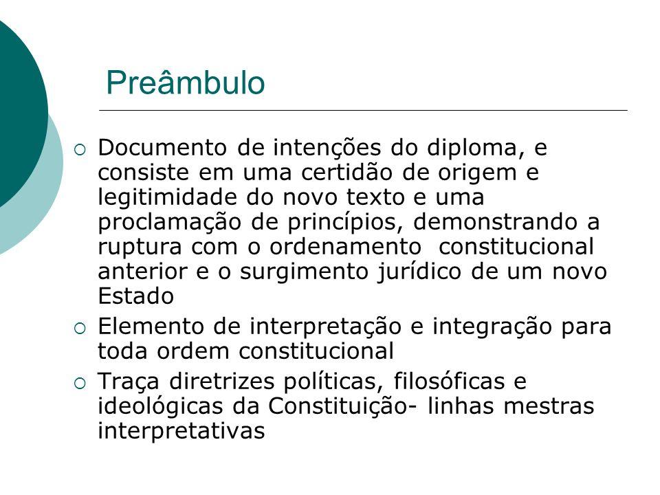 Preâmbulo Documento de intenções do diploma, e consiste em uma certidão de origem e legitimidade do novo texto e uma proclamação de princípios, demons