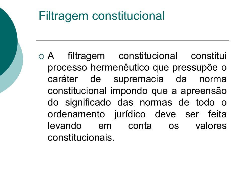 Filtragem constitucional A filtragem constitucional constitui processo hermenêutico que pressupõe o caráter de supremacia da norma constitucional impo