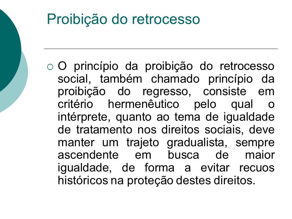 Proibição do retrocesso O princípio da proibição do retrocesso social, também chamado princípio da proibição do regresso, consiste em critério hermenê