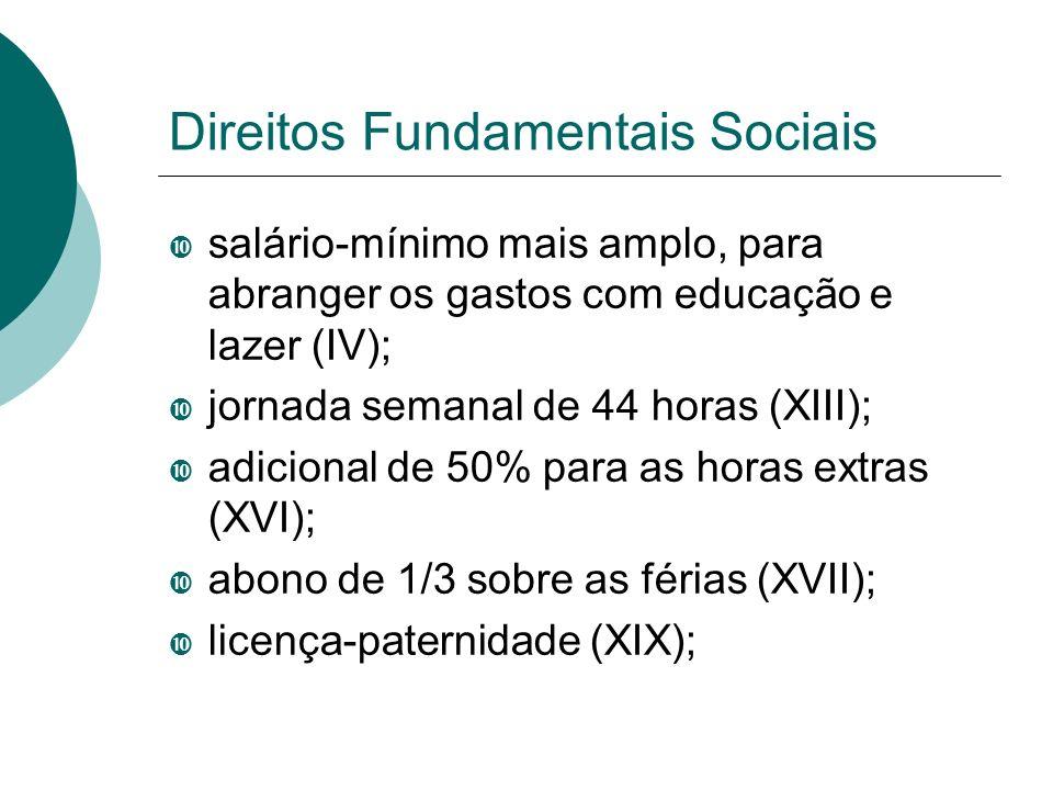 Direitos Fundamentais Sociais salário-mínimo mais amplo, para abranger os gastos com educação e lazer (IV); jornada semanal de 44 horas (XIII); adicio