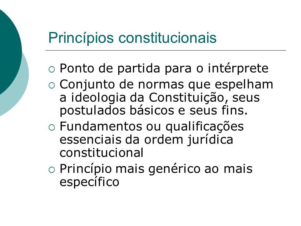 Princípios constitucionais Ponto de partida para o intérprete Conjunto de normas que espelham a ideologia da Constituição, seus postulados básicos e s