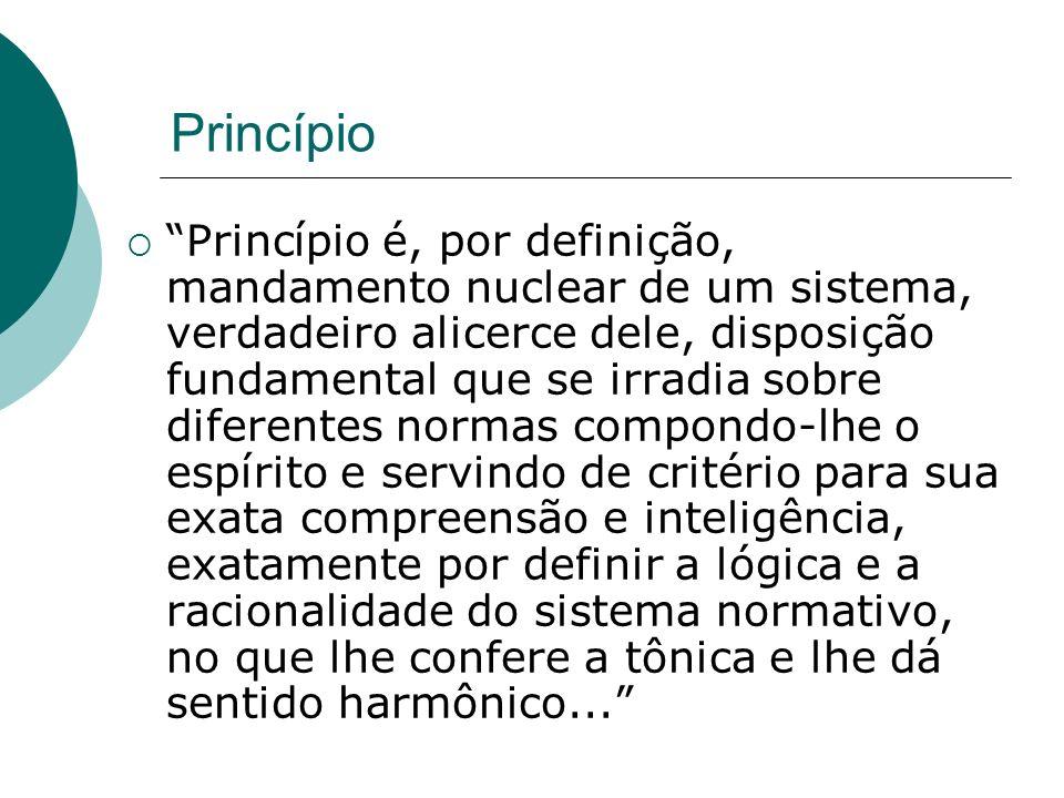 Princípio Princípio é, por definição, mandamento nuclear de um sistema, verdadeiro alicerce dele, disposição fundamental que se irradia sobre diferent
