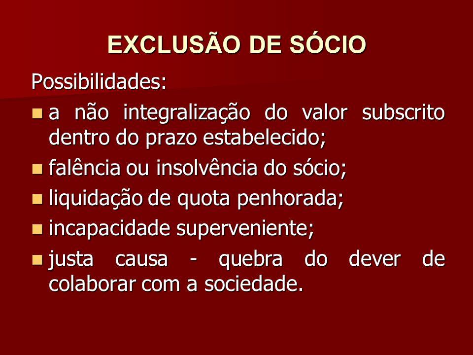 EXCLUSÃO DE SÓCIO Possibilidades: a não integralização do valor subscrito dentro do prazo estabelecido; a não integralização do valor subscrito dentro