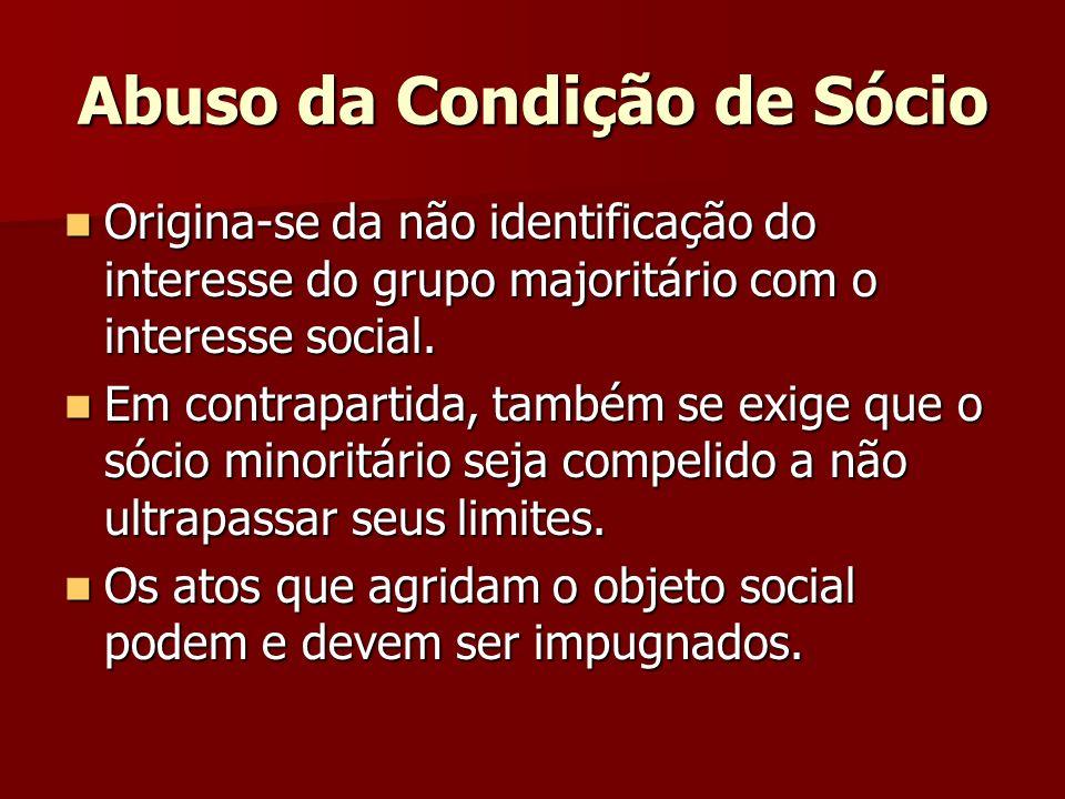 Abuso da Condição de Sócio Origina-se da não identificação do interesse do grupo majoritário com o interesse social. Origina-se da não identificação d