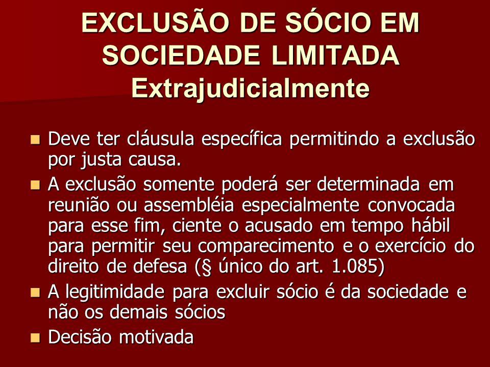 EXCLUSÃO DE SÓCIO EM SOCIEDADE LIMITADA Extrajudicialmente Deve ter cláusula específica permitindo a exclusão por justa causa. Deve ter cláusula espec