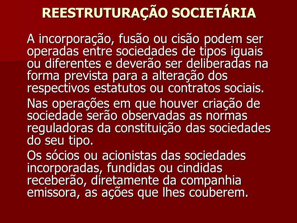 REESTRUTURAÇÃO SOCIETÁRIA A incorporação, fusão ou cisão podem ser operadas entre sociedades de tipos iguais ou diferentes e deverão ser deliberadas n